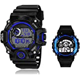 SELLORIA Digital Black Dial Silicone Bracelet Boys Kids Watch Combo Pack of 2 Watches