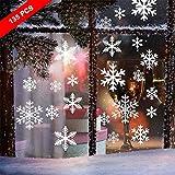 Noël Autocollant Fenetre, Neige PVC Autocollants Stickers Flocons de Neige Amovibles Deco Vitres Noel,135 PCS Flocons de Noel Statiques Blanche Stickers Hiver Decoration Fenetre