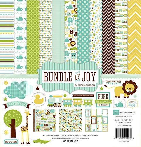 Echo Park Paper Papier Collection Kit 12 Zoll x 12 Zoll, Bundle of Joy Boy (Paper-bundle Joy-boy Park Echo Of)