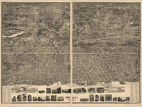 Antique Map of Yonkers New York 1899 Westchester County Kunstdruck (45,72 x 60,96 cm)
