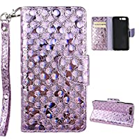 Huawei P10 Wallet Case, Huawei P10 Cover Case, Rosa Schleife Sparkle Bling Glitter PU Leather Butterfly Painting Pattern Embossed Floral Flip Folio Magnetic Snap Leather Phone Case Protective Case Cover Shell Skin for Huawei P10 2017 Release (5.1