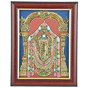 Mangala Art Balaji Tanjore Artwork with Acrylic Base, Size:5x4 inches, Color:Multi