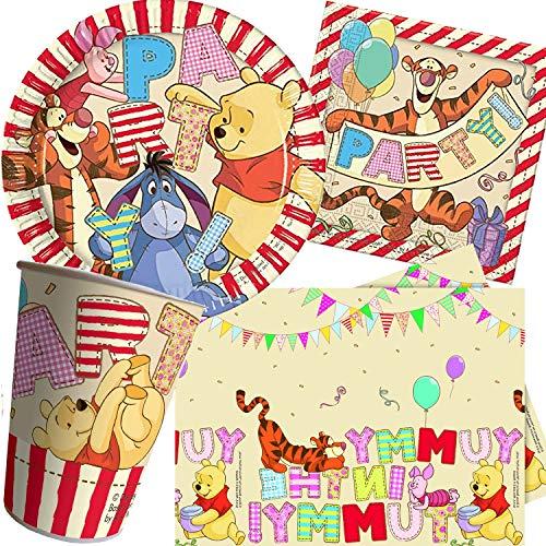 Procos/Carpeta Ensemble 62 pièces Set de fête Winnie l'ourson Alphabet avec Assiettes, gobelets, Serviettes, Nappe pour Enfants, Anniversaires d'enfants, Motto Puuh Ferkel Tigger Puh Disney