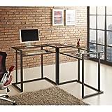 WE Furniture Schwarz Metall Glas Ecke Computer-Schreibtisch
