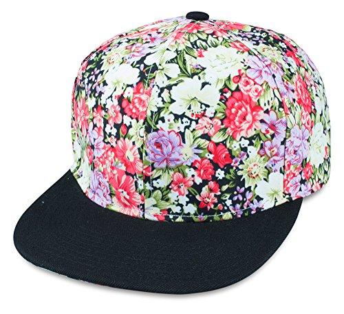 Sense42   Snapback Cap im Blumen Design   Unisex, für Damen und Herren   One Size   größemverstellbar   großer Schirm   Flower mit schwarzen Schirm