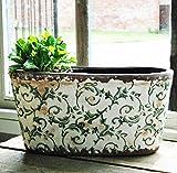 Bluebell Yard Large Hampton grün floral Keramik oval Übertopf