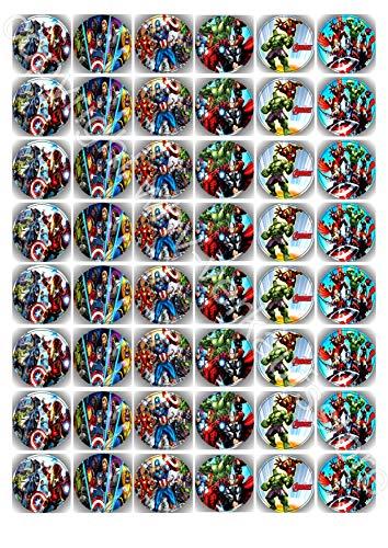48 Muffin & Cupcake Aufleger bereits vorgestanzt aus Fondant The Avengers CA1