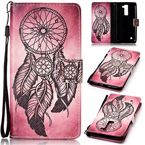 SmartLegend LG K8 Case , LG K8 Cover Strap Leather Wallet Case Colorful Arting Painting Pattern Design PU Bumper with Magnet Closure and Card Slots Holster Stand Function Smartphone Protective Case -Feather Windbell