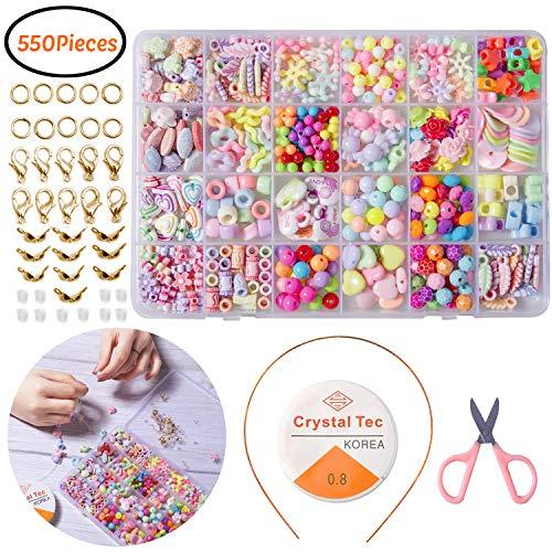 YHmall 550 Stück Perlen Kinder Bunte Perlen Armband Kunststoff 24 Farben MEHRWEG - Mädchen Schmuck-set Spielen