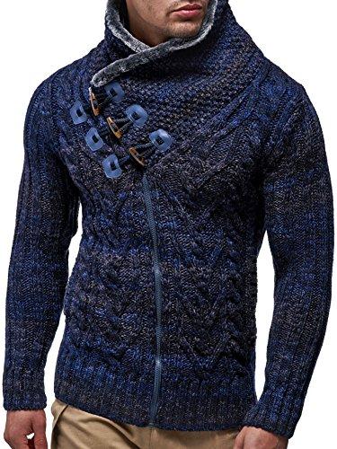 LEIF NELSON Herren Strickjacke Hoodie Strick Pullover Jacke Hoody LN20523 Dunkel Blau