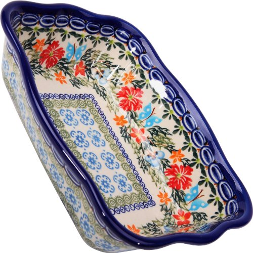 Polish Pottery Ceramika Boleslawiec Fala Baker Small, 7-3/4-Inch by 6-1/8-Inch, 3 Cups, Royal Blue Patterns with Red Cornflower and Blue Butterflies Motif - Cornflower Blue Cup