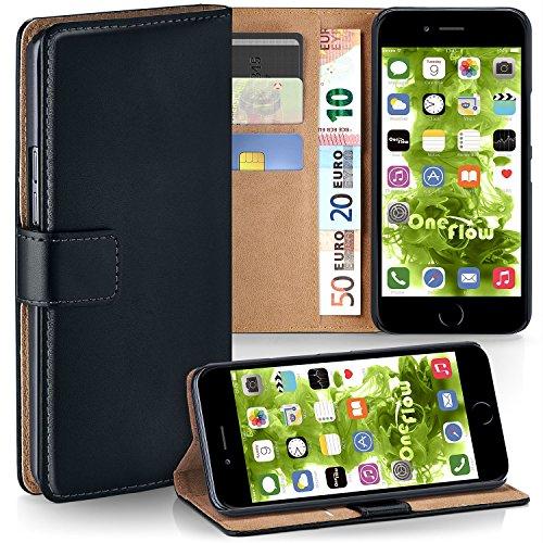 Apple iPhone 7/8 Hülle Schwarz mit Karten-Fach [OneFlow 360° Book Klapp-Hülle] Handytasche Kunst-Leder Handyhülle für iPhone 7/8 Case Flip Cover Schutzhülle Tasche