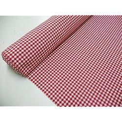 Metraje 0,50 mts tejido Vichy, cuadro pequeño 5x5 mm. color Rojo, con ancho 2,80 mts.