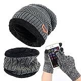 Alando warm Damen Herren Outdoor Sport Wintermütze Strickmütze kuschelig Schal mit Loop + Touchscreen Handschuhe (Grau Set)