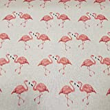 Stoff Meterware Baumwolle natur Flamingo rosa pflegeleicht
