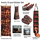 #3: Avioni Reversible Apron, Polythene organiser,Oven Mitten , Pot Holder With free 6 coasters+ 3 round dish Placemats