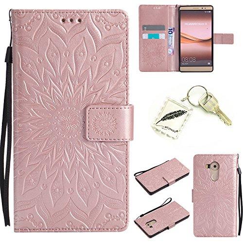 Preisvergleich Produktbild Silikonsoftshell PU Hülle für Huawei Mate 8 (6 Zoll) Tasche Schutz Hülle Case Cover Etui Strass Schutz schutzhülle Bumper Schale Silicone case+Exquisite key chain X1#KD (4)