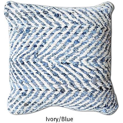 La República alfombra hecha a mano marfil/azul reciclado tela vaquera y tela Chenille Arena de almohada (45cm x 45cm), 1pieza