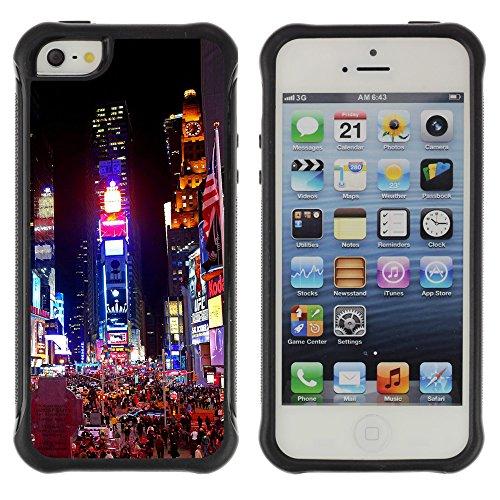 Graphic4You New York City Empire State Building Postkarte Ansichtskarte Design Shockproof Anti-Rutsch Weichen Hülle Case Tasche Schutzhülle für Apple iPhone SE / 5 / 5S Design #1