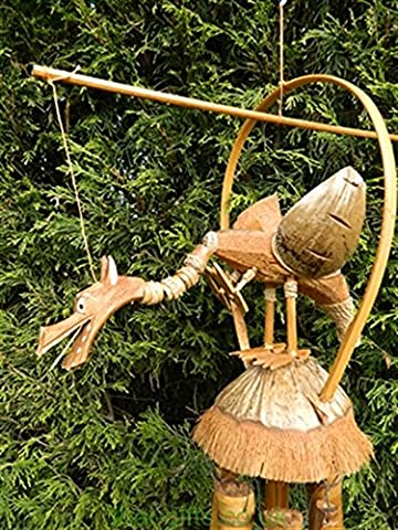 Wooden Windchime Carving - Hand Carved Bamboo Chime Dragon Design