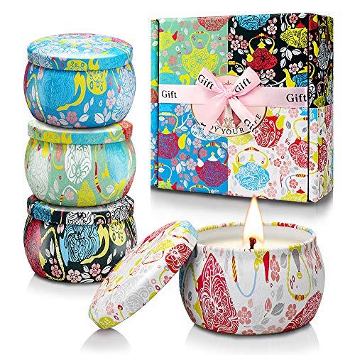creashine candele profumate, set regalo di natale, candele di citronella per interni, in cera di soia naturale, perfette per le donne, per bagno, yoga, compleanni, per esterni - set di 4