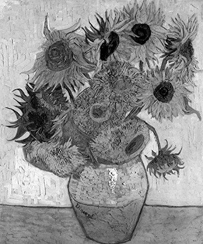 Bilderdepot24 Vlies Fototapete Vincent Van Gogh - Alte Meister - Zwölf Sonnenblumen - schwarz Weiss - 65x80 cm - mit Kleister - Poster - Foto auf Tapete - Wandbild - Wandtapete - Vliestapete - Philadelphia Vans