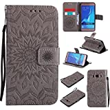 For Samsung Galaxy J5 2016 Case [Gray],Cozy Hut [Wallet Case] Magnetic Flip Book Style Cover Case ,High Quality Classic New design Sunflower Pattern Design Premium PU Leather Folding Wallet Case With [Lanyard Strap] and [Credit Card Slots] Stand Function Folio Protective Holder Perfect Fit For Samsung Galaxy J5 2016 / SM-J510 5,2 inch - gray