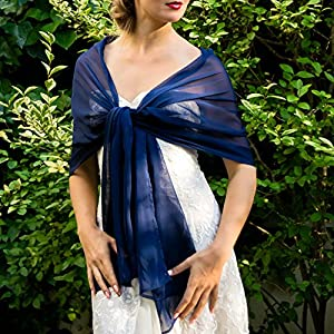 Stola Chiffon Schal Brautstola Tusch Hochzeit Braut blau