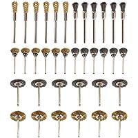 Kit brosse métallique 36pièces Mini Acier Inoxydable laiton Set de brosses en fil d'acier Polissage propre Rotation Instrument utilisé pour perceuse meuleuse et autres outils rotatifs