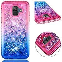 BONROY Hülle für Samsung Galaxy A6 2018 Schutzhülle mit Flüssig-Glitzer,Handyhülle,Schutzhülle,Back Cover mit Glitter Flüssigkeit,aus TPU/Silikon,Transparent-(YB-Farbverlauf pink blau)