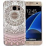 JIAXIUFEN Coque pour Samsung Galaxy S7 Edge Silicone Étui Housse TPU Protecteur - Pink Circle Flower Tribal Mandala
