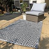 Outdoor Teppich grau-weiß mit Rauten Kunststoffteppich 120x180 cm UV beschichtet