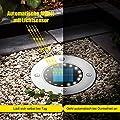 Solarleuchte Garten, ALIENGT Solar Bodenleuchten Aussen 4 Stück 16 LED Gartenleuchten Edelstahl Außenleuchte Wasserdicht Solarlampe für Rasen Weg Hof Auffahrt Gehweg, WarmWeiß[Energieklasse A+++] von ALIENGT auf Lampenhans.de