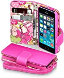 iPhone 5S / 5 Case, Terrapin [Pink] [Lily Floral Interior] Textured PU Leather Wallet Case with Card Slots Cash Compartment and Detachable Wrist Strap for iPhone 5S / 5 - Pink