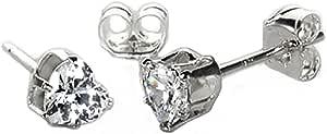 Orecchini punto luce in argento Sterling e pietre CZ a forma di cuoricino 4mm - 8mm