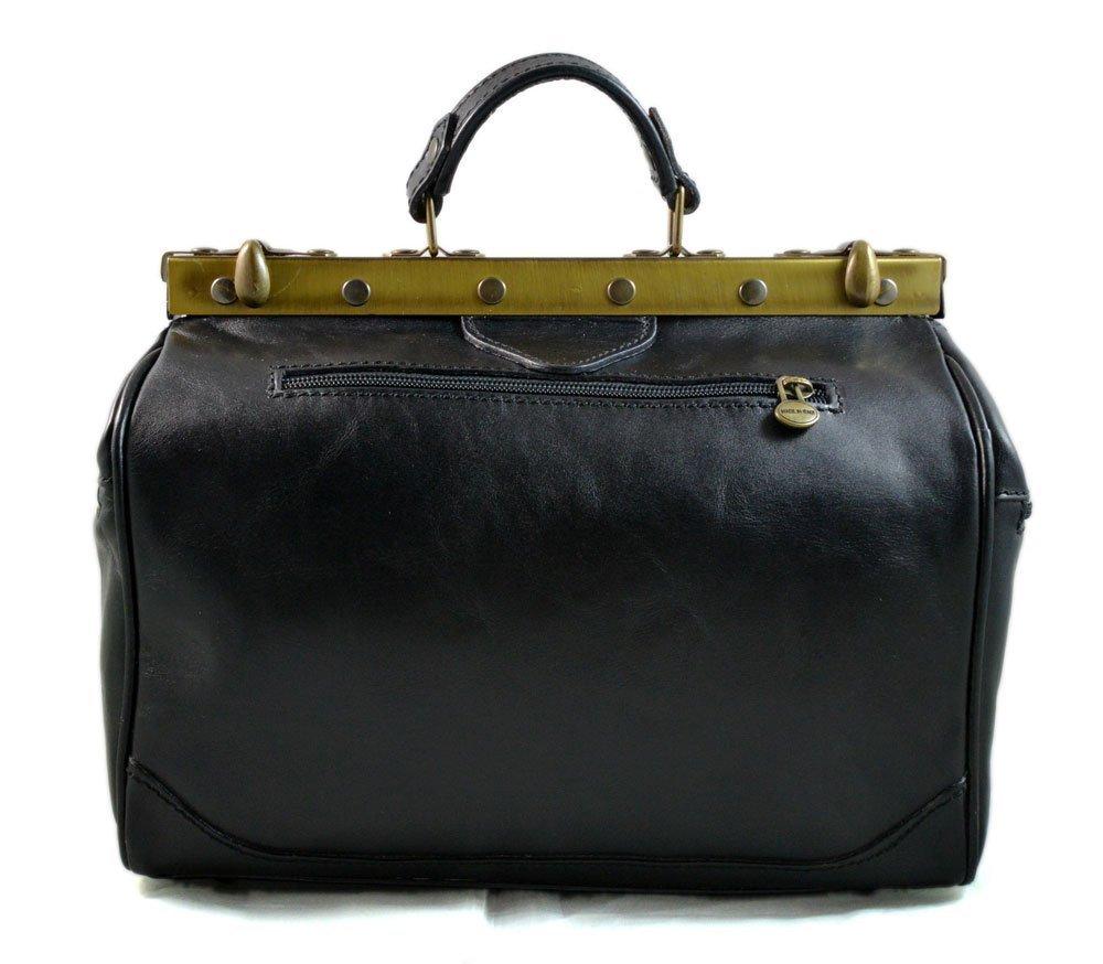 Ladies doctor bag womens leather handbag doctor bag handheld shoulder bag medical purse black made in Italy - handmade-bags