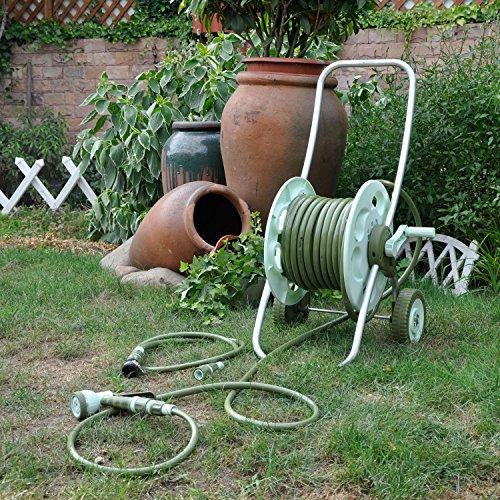 Worth Garden Enrouleur panier Set Avec 30 M 1/2 '' Hose, 8-pattern Pistolet et raccords, parfait pour l'arrosage extérieur