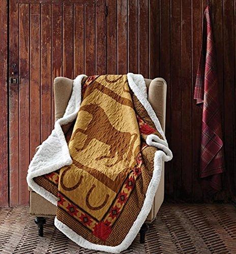 Ranch Lodge (Duke Imports Hufeisen Quilt Überwurf mit Sherpa Unterstützung Country Western Ranch Lodge Kabine mit Southwest Azteken Akzente)