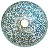 L'Orient Orientalisches Keramikwaschbecken Cyan 40cm | Handmade Handbemalt handgemacht handgetoepfert orientalisches Waschbecken