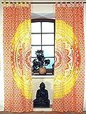 Guru-Shop Vorhang, Gardine (1 Paar Vorhänge, Gardinen) mit Schlaufen, Mandala Motiv - Orange/gelb, Baumwolle, 230x100x0,2 cm, Dekovorhänge