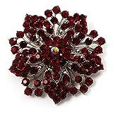 Spilla in stile vittoriano a forma di fiore (argento e bordeaux)