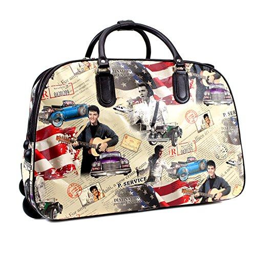 YDezire®, borsone da viaggio da donna con le rotelle, portabile a mano White/Elvis