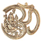 #9: Jaipuri Haat OM Ganesh Decorative Hanging in Gold Finish ( 28@23 CM)