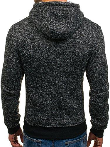 BOLF Herren Kapuzenpullover Sweatshirt Langarmshirt Pulli Hoodie Basic 1A1 Schwarz_AK30