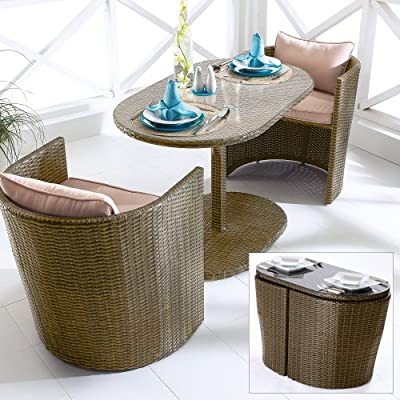 """Gartenmöbel-Set """"Oval"""" inklusive 2 Sessel und 1 Tisch Braun 3-teilig"""