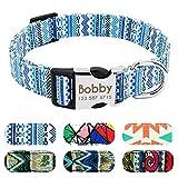 Didog Hundehalsband mit Gravur mit Schnellverschluss-Schnalle, personalisiertes Hundehalsband mit modischen Mustern, passend für kleine und mittelgroße Hunde