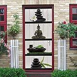 3D Adesivi Per Porte, Porta Poster Impermeabile Pvc Autoadesiva Carta Da Parati Adesiva Muro, Home Art Decor, Statua Antica Del Buddha Del Cobblestone, 90X200Cm