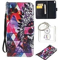 Coque pour Sony Xperia XA, Etui pour Sony Xperia XA PU Cuir Flip Magnétique Portefeuille Etui Housse Coque en Cuir Portefeuille Housse de Case pour Sony Xperia XA + porte-clés(W) (6)