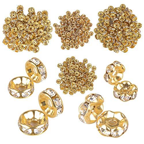 JNCH (Dia. 6mm + 8mm) 400pz Perline Vetro Strass Rotonde Perle Distanziatori Oro Metallo Accessori per Creazione Gioielli Fai da Te Orecchini Collana Bracciali Monili Ciondoli