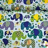 MAGAM-Stoffe ''Julia - Bunte Elefanten'' Hochwertiger Kinder-Baumwoll-Stoff in Tollen Farben - Meterware ab 50cm - MX (5. Hellblau)